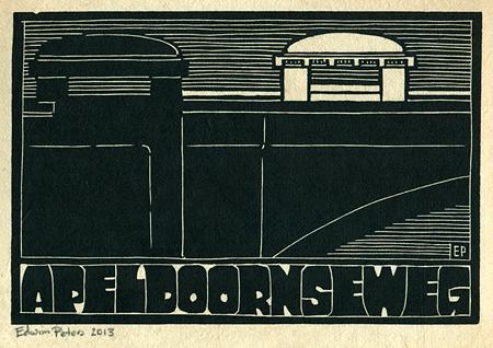 Apeldoornseweg | houtsnede | 25 x 16,5 cm | 2013 | ■■