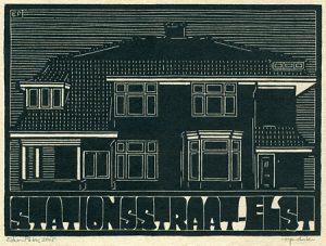 Stationsstraat Elst | houtsnede | 25 x 18,5 cm | 2015