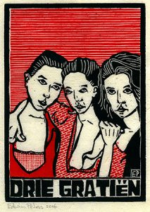 Drie Gratiën | kleurenhoutsnede | 12 x 17 cm | 2006