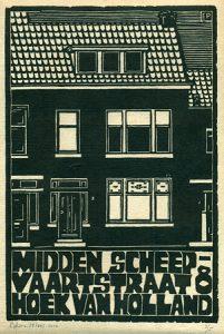 Midden Scheepvaartstraat 8 / Hoek Van Holland | houtsnede | 18,5 x 27,5 cm | 2010