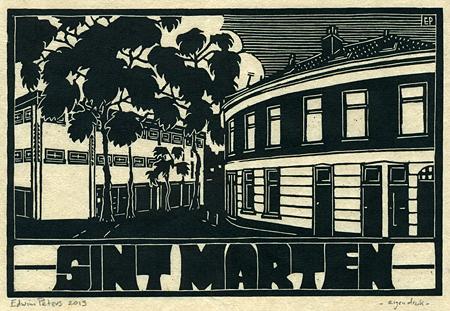 Sint Marten | houtsnede | 30 x 20 cm | 2013 | ■■