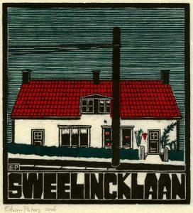 Sweelincklaan | kleurenhoutsnede | 18 x 19,5 cm | 2006