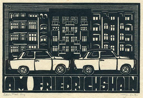 Am Friedrichshain | houtsnede | 30 x 20 cm | 2014