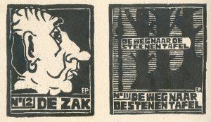 De Zak | houtsnede | 9 x 11,5 cm | 1998 / De Stenen Tafel | houtsnede | 12,5 x 13,5 cm | 1998