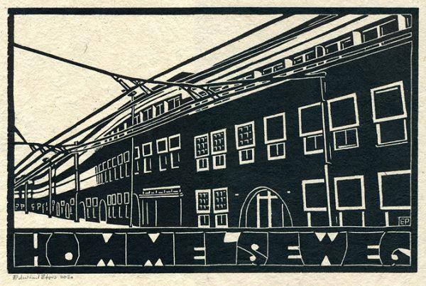 Hommelseweg | houtsnede | 30 x 19,5 cm | 2020