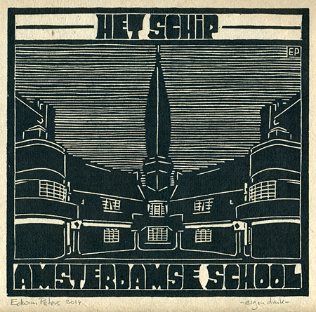 Het Schip / Amsterdamse School | houtsnede | 20 x 19 cm | 2014