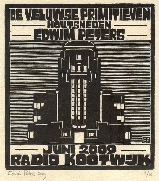 Radio Kootwijk | houtsnede | 16,5 x 18,5 cm | 2009 | ■■