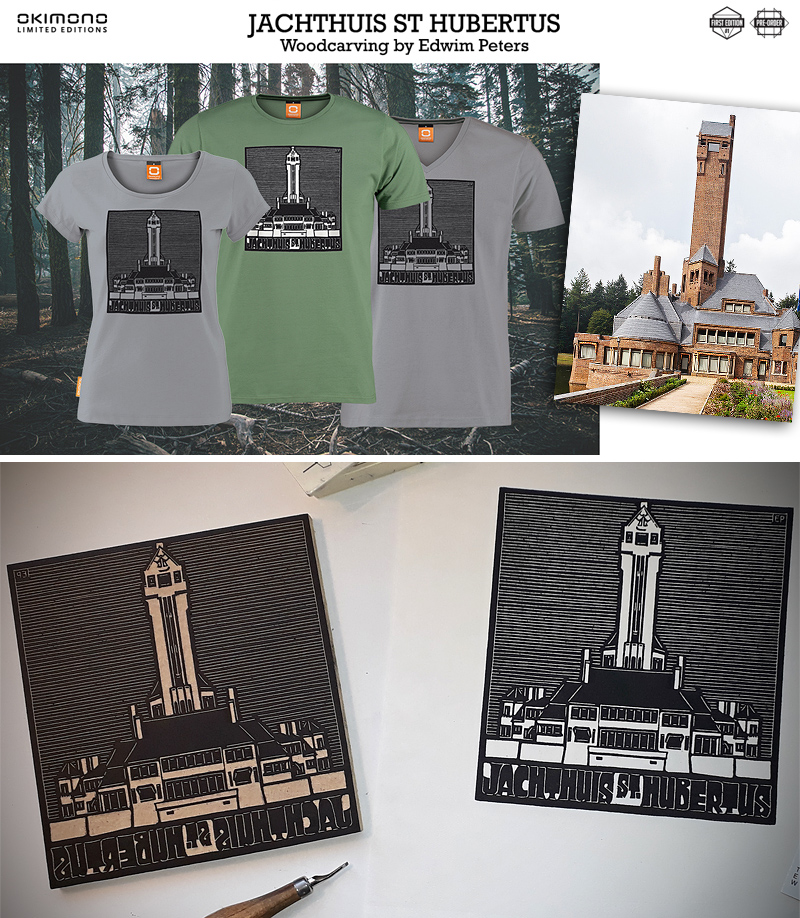 Jachthuis St. Hubertus: houtsnede & OKIMONO-shirt