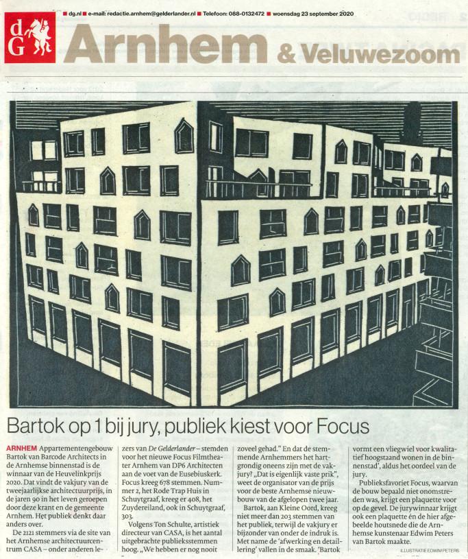 HEUVELINKPRIJS 2020 | De Gelderlander, 23-09-20 | Bartok Arnhem | 2020