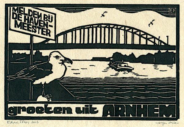 Groeten Uit Arnhem | houtsnede | 25 x 16,5 cm | 2016 | ■■
