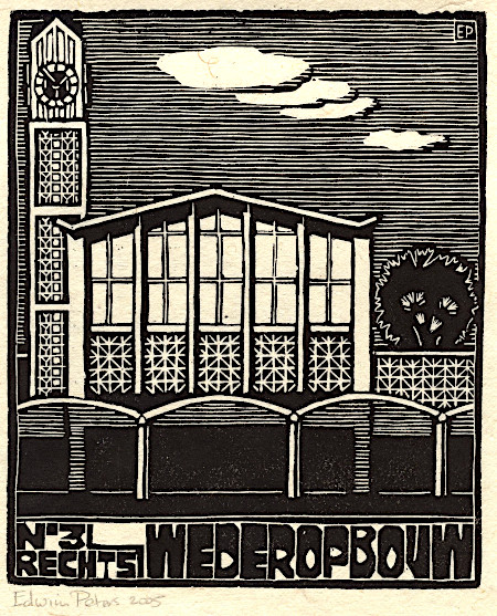 Nr 3 Wederopbouw / Station Arnhem | houtsnede | 17,5 x 21 cm | 2005 | ■■